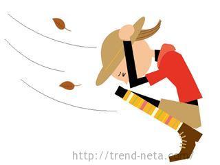 風で飛ばない帽子と女性