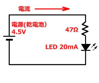 LEDと抵抗の回路図