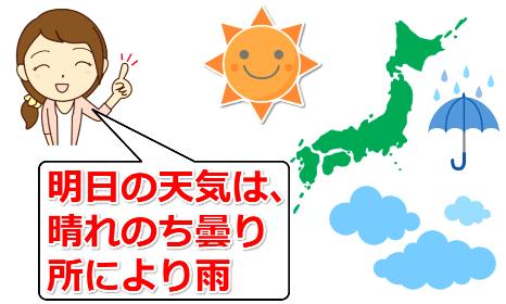 明日の天気は晴れのち曇り、所により雨