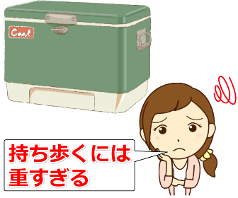 重いクーラーボックス