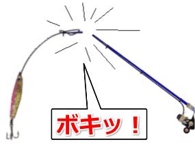 peラインが絡まって竿が折れた