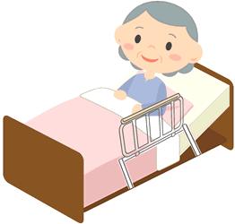 持ち手のあるベッド